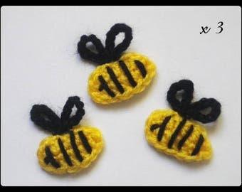 Lot 3 bees ✿•ڿڰۣ✿ applique crochet woolen ✿•ڿڰۣ✿