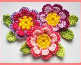 ✿•ڿڰۣ✿ Lot 3 embossed flowers applique with leaves ✿•ڿڰۣ✿