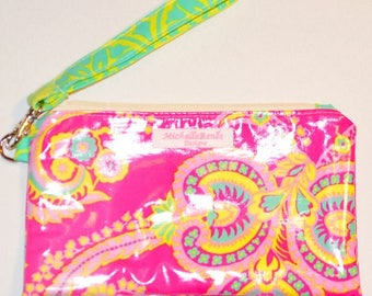Wristlet - Water and Stain Resistant Laminated Cotton - Jennifer Paganelli Fabric - Sale!
