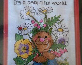 """On Sale Vintage Suzy's Zoo Counted Cross Stitch Kit, """"Beautiful World"""", #38-63, Finished Size 5"""" x 7"""", Ollie & Flowers, New Sealed Package,"""