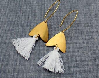 Tassel Earrings - White Tassel Earrings - Arrow Earrings - Chevron Earrings - Tassle Earrings - Statement Earrings, Boho Earrings, Geometric