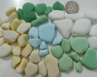 English Sea glass - 46 pieces of milk glass