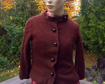 40s 60s Brown Wool Cropped Jackie O Jacket Blazer 3/4 Sleeves Cottage Chic XS S