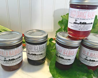 Rhubarb Flavored Jam - Your Choice of 6 Flavors - Red Rhubarb Jelly - Strawberry Rhubarb Jam - Hostess Gift - Food Basket Gift - Edible Gift
