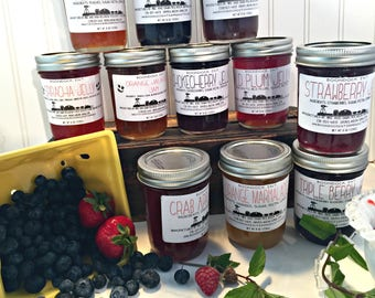 Bulk Jam Lot - Case of 12 Jars - Assortment of Jam Jelly - Choose from 50 flavors - Hostess Gift - Boondock Enterprises - Party Favor Jams