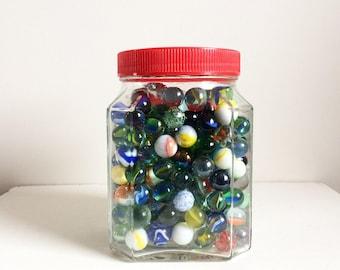 Vintage marble collection in jar vintage toys retro nursery