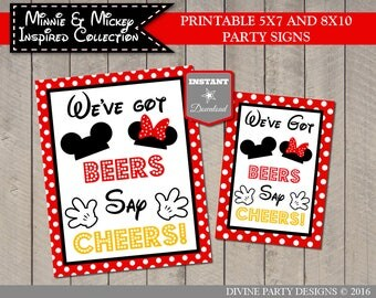 INSTANT DOWNLOAD Girl and Boy Mouse Printable 5x7 and 8x10 We've Got Beers, Say Cheers Party Sign / Girl & Boy Mouse Collection / Item #2140