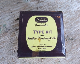 Vintage Justrite Indelible Type Kit for Rubber Stamping Cloth- Louis Melind Company  Letters, Numbers and Symbols