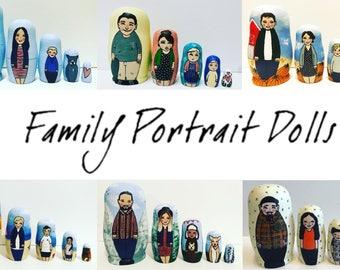 Family portrait dolls, Personalised nesting dolls, custom illustrated portrait dolls.