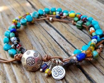 Arizona Turquoise Bracelet and Hill Tribe Silver, African Trade Bead Bracelet, Ohm Symbol Charm, December Birthstone, Beachy, Awala Beads