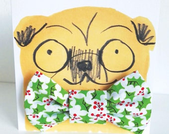 Christmas Holly Dog Bowtie Gift Set - Hipster Hounds