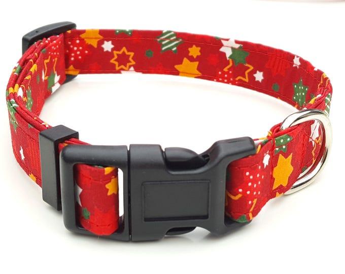 Dog Collar - Red Christmas Star