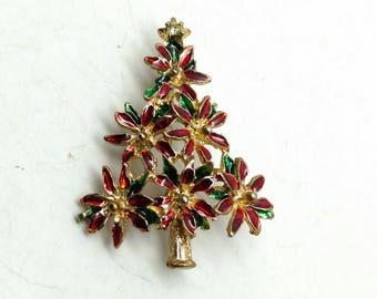 E43: Vintage Red Enamel Poinsettia Christmas Tree Pin