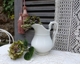 Antique french white footed ironstone washing pitcher. Antique white pitcher. Bird head handle. Jeanne d'Arc living. French nordic decor.