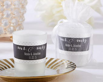 Personalized Frosted Glass Votive - Mr. & Mrs. Votive Candles - Wedding Candles - Candle Wedding Favors (15020NA-MM)