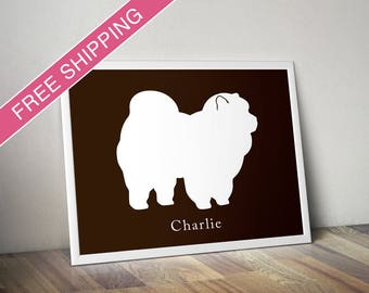 Personalized Chow Chow Silhouette Print with Custom Name - dog poster, dog art, dog gift