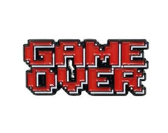 GAME OVER Enamel PinVideo Game Festival Nerd Pixelated Comicon Heady Lapel
