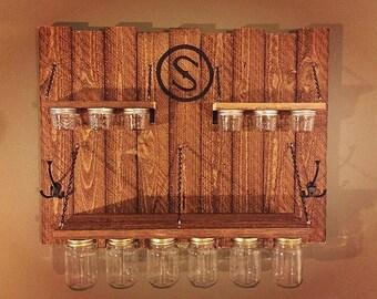 Mason jar and hanging shelf organizer