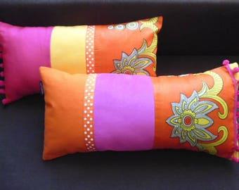 "2 cushions ""VITAMIN CHIC"" rectangles, patchwork fabrics"
