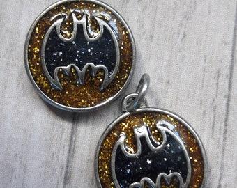 Sparkle Glitter Batman Logo Charms Jewelry Making Supplies