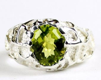 Fathers Day, 1/3 Off, Peridot, 925 Sterling Silver Men's Ring, SR168