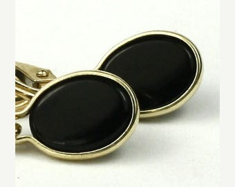 On Sale, 30% Off, Black Onyx, 14KY Gold Leverback Earrings, E001