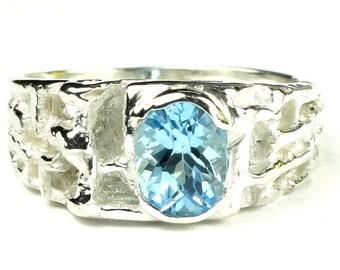 On Sale, 30% Off, Swiss Blue Topaz, 925 Sterling Silver Men's Ring, SR197