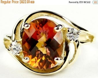 On Sale, 30% Off, Twilight Fire Topaz, 14KY Gold Ring R021