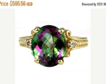 On Sale, 30% Off, Mystic Fire Topaz, 14KY Gold Ring, R136