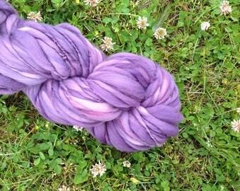 PURPLE - Handspun Merino Super Bulky Thick & Thin Yarn - 72 YDS
