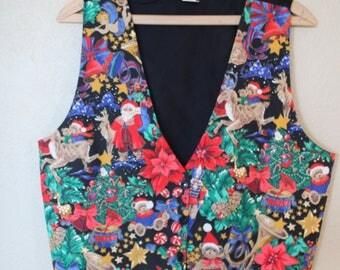 vintage teddy bear christmas vest *