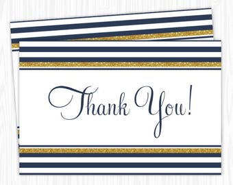 Navy Stripe and Gold Thank You Card, 4x6 Printable, Bridal Shower, Baby Shower, YOU print, you cut, DIY