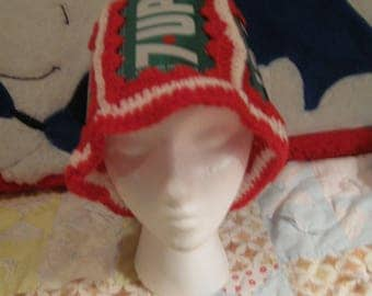 1970's VINTAGE Christmas 7-UP YARN Hat!! These were Popular at One Time!!!