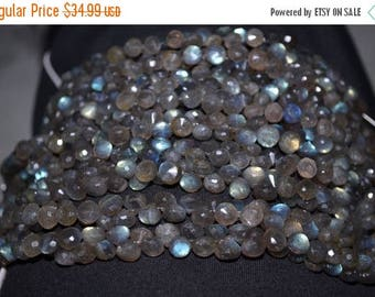 """40%DIS 8""""Strand 7mm 56 Beads-AA Natural Strong Blue Flash Labrodorite Faceted Onion Shape Briolette Beads"""