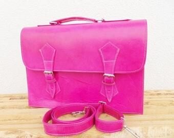 "Girls Leather Messenger Bag, Pink Fushia Leather Laptop Cross Body Macbook Air Pro 13"" Bag for Women & Girls, Girlfriend Gift, Birthday Gift"