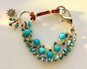 Turquoise and Brown Leather Multi Strand Bracelet
