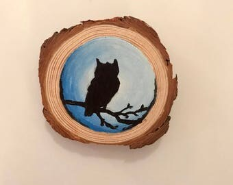 Owl painting magnet