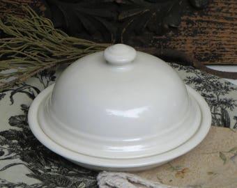White Ceramic Dome Cloche and Plate Vintage Pfaltzgraff Cheese Cloche Butter Dish