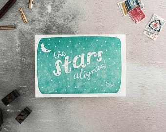 The Stars Aligned Letterpress Valentines Card