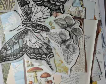 Collage pack mixed media vintage and new papercraft scrapbook