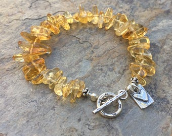 Citrine Bracelet, Citrine Nugget Bracelet with Hill Tribe Silver, choose your size.