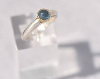 Topaz Jewellery, Blue Topaz Ring, Sterling Silver Ring with Blue Topaz, Ring Size M1/2, December Birthstone Ring, Wellbeing Topaz Jewelry