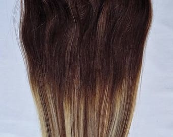 "18"",20"", 22"", 24"" 100% Ombre BALAYAGE Clip in Human Hair Extensions 7Pcs,14 clips # T2-6/613"