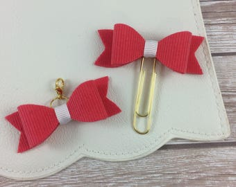 Salmon Corduroy Planner Clip or Charm // Bookmark // Planner Accessories //
