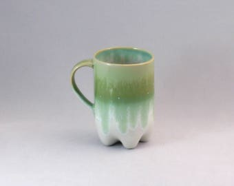 Porcelain bottle in pet Cup green white, handmade, with ear, 330 ml
