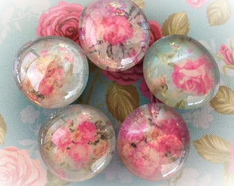 5 Shabby Chic Glass Magnets Rose Rosebud Pink Teal Floral Kitchen Home Dorm Office Locker Refrigerator Housewarming Hostess Teacher Gift