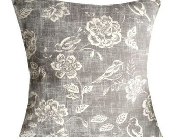 Designer handmade grey modern decor bird floral distressed interior cushion cover 16 , 18 , 20 , 22 , 24 ""