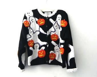 Vintage Halloween sweater ghost pumpkins cardigan 80s 90s black orange