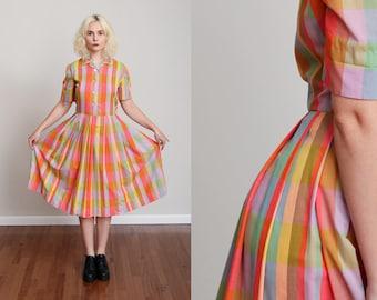 1950s Rainbow Pastel Plaid Cotton Swing Dress w/Button Down Bust - Short Sleeve - Sweetheart •S/M