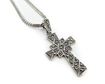 Vintage, Marcasite Cross, Necklace, Sterling Silver, STU80